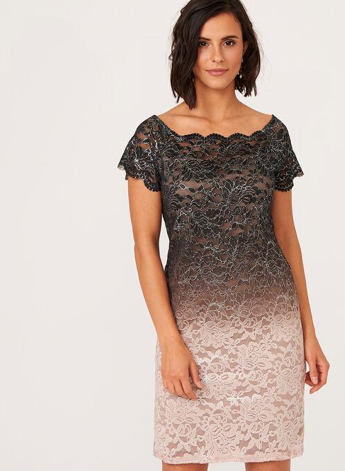Ombré Lace Sheath Dress, Off White, hi-res