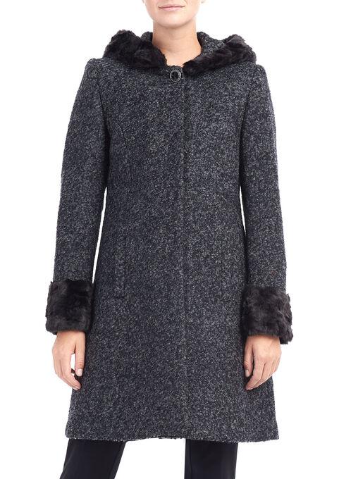 Novelti Brooch Detail Wool Coat, Grey, hi-res