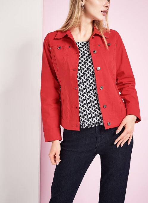 Simon Chang Bengaline Jean Jacket, Red, hi-res