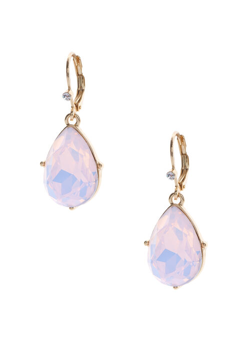 Teardrop Earrings, Pink, hi-res