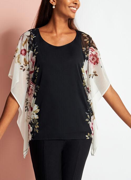 Floral Print Mesh Poncho Blouse, Black, hi-res