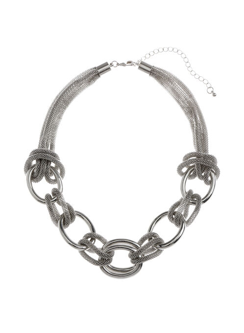 Mesh Chain Link Necklace, Silver, hi-res