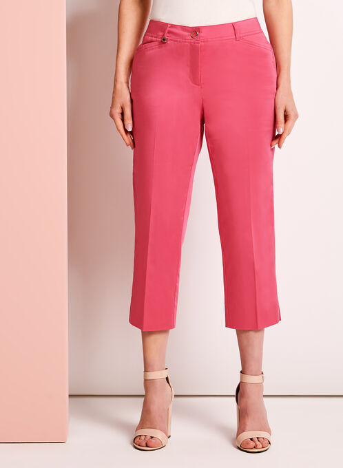 Modern Fit Straight Leg Capris, Pink, hi-res