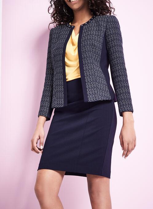 Contrast Knit Stripe Print Jacket, Blue, hi-res