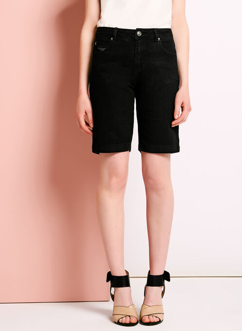 Simon Chang Denim Bermuda Shorts , Black, hi-res