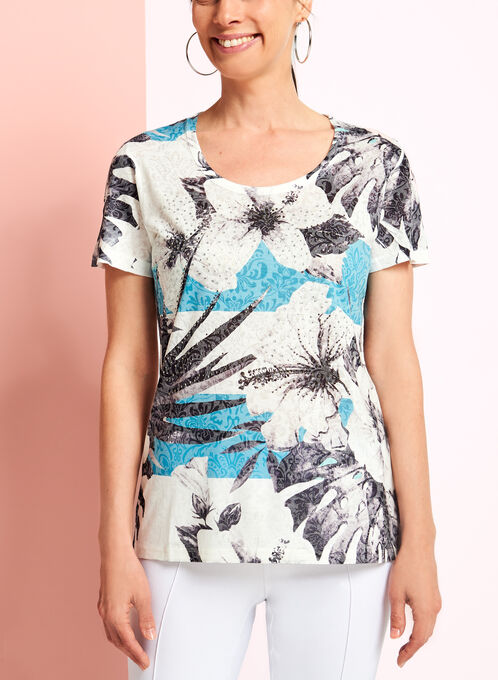 V-Neck Floral Print Top, Blue, hi-res
