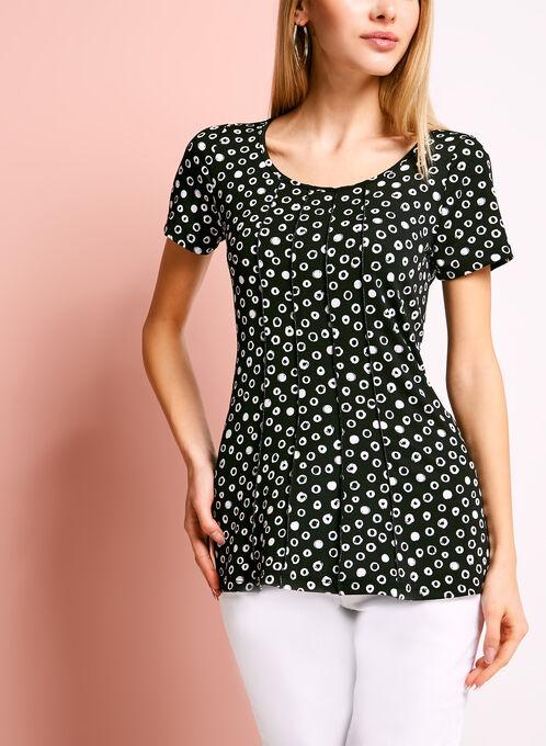 Scoop Neck Graphic Dot Print T-Shirt, Black, hi-res