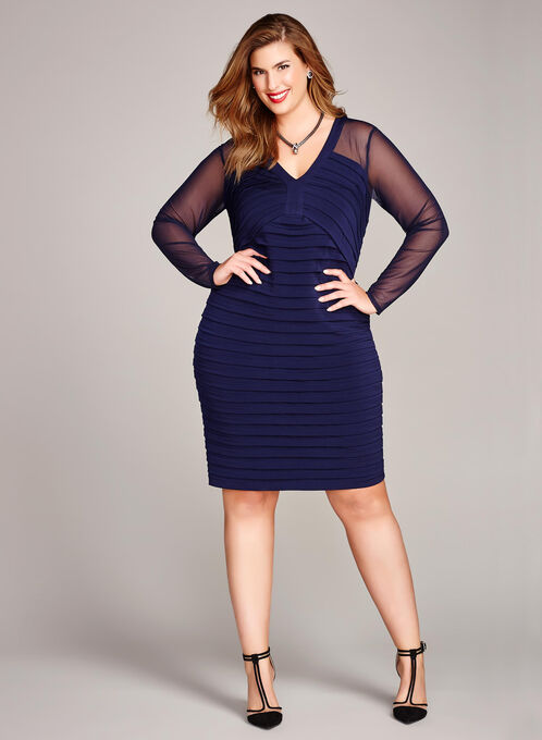 Illusion Sleeve Shutter Tuck Dress, Blue, hi-res