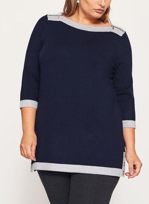 3/4 Sleeve Zipper Trim Knit Tunic Sweater , Blue, hi-res