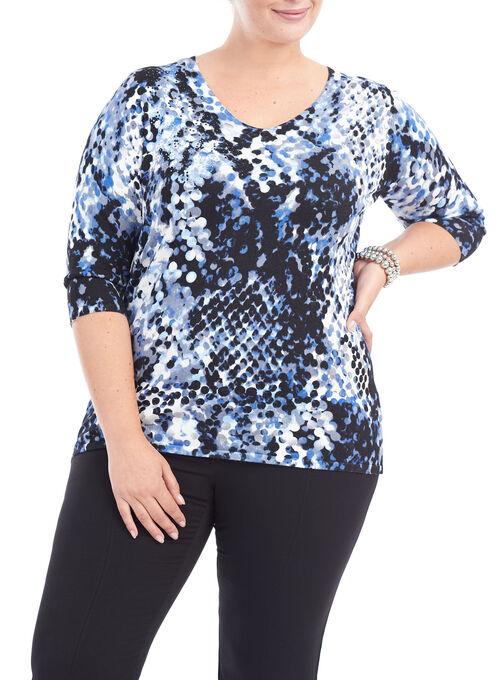 3/4 Sleeve Dot Print Knit Top, Blue, hi-res
