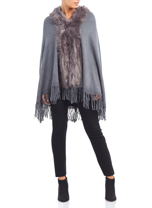 Faux Fur Oblong Ruana Cape, Grey, hi-res