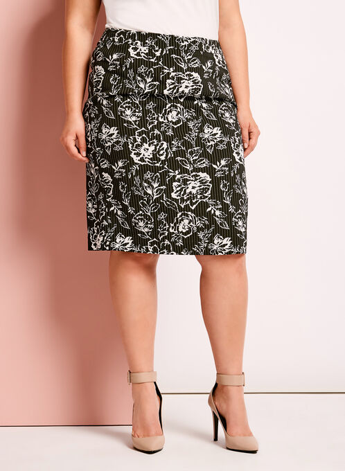 Bengaline Floral Print Pencil Skirt, Black, hi-res