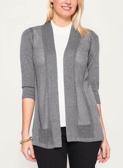 3/4 Sleeve Pointelle Cardigan, Grey, hi-res