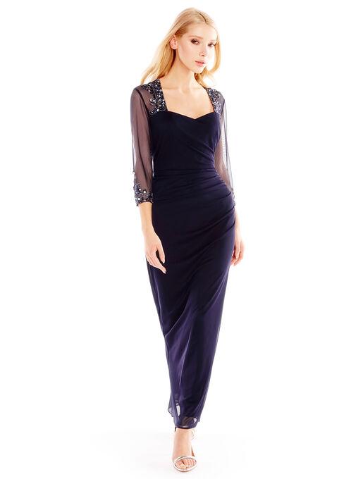 3/4 Sleeve Ruched Dress, Blue, hi-res