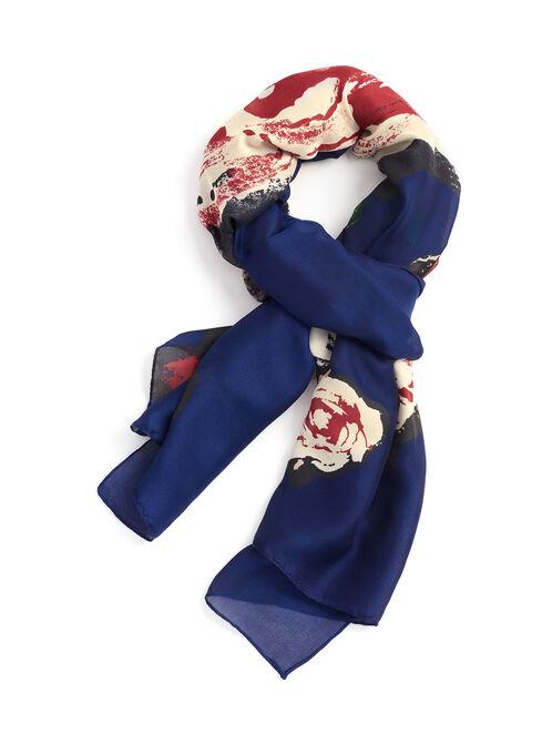 Flower Print Lightweight Scarf, Blue, hi-res