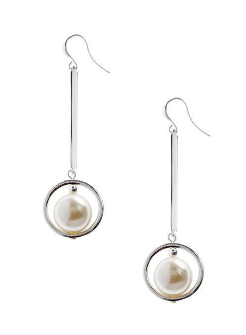 Pearl Center Dangle Earrings, Off White, hi-res