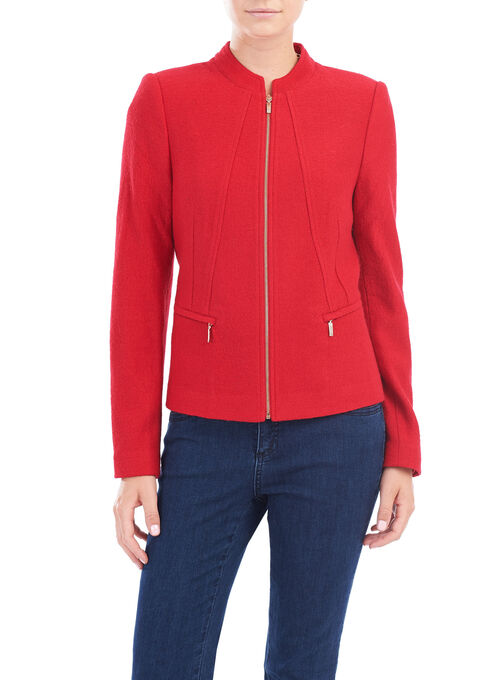 Wool Blend Zipper Detail Jacket, Red, hi-res