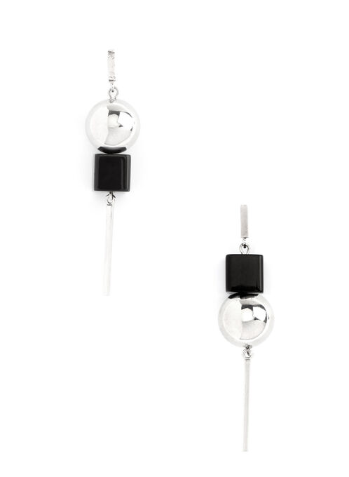 Geometric Dangle Earrings, Black, hi-res
