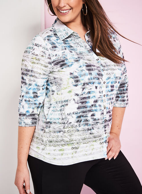 Floral Print Burnout Shirt, Green, hi-res