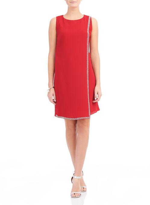 Rhinestone Trim Overlay Dress, Red, hi-res