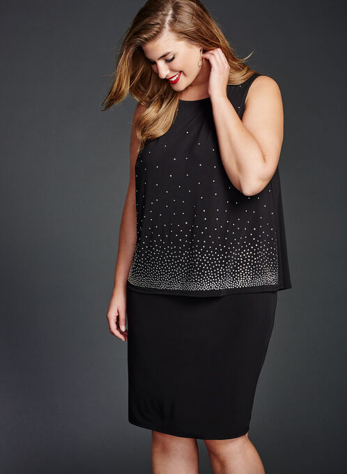 Studded Popover Sheath Dress, Black, hi-res