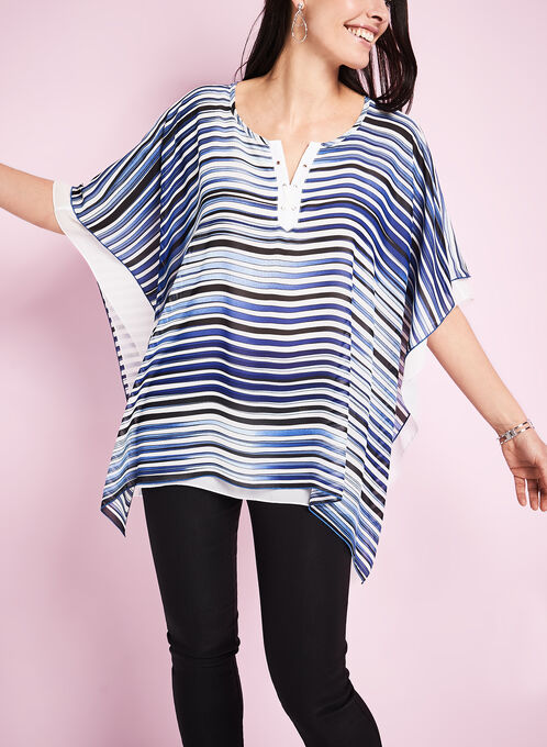Stripe Print Poncho Blouse, Blue, hi-res