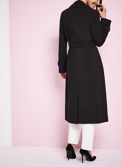 Notch Collar Trench Coat, Black, hi-res