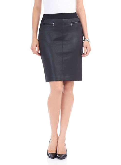 Short Ponte Faux-leather Trim Skirt, Black, hi-res