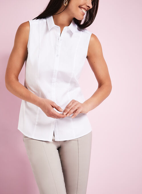 Sleeveless Button Down Shirt, White, hi-res