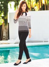 3/4 Sleeve Stripe Print Sweater, , hi-res