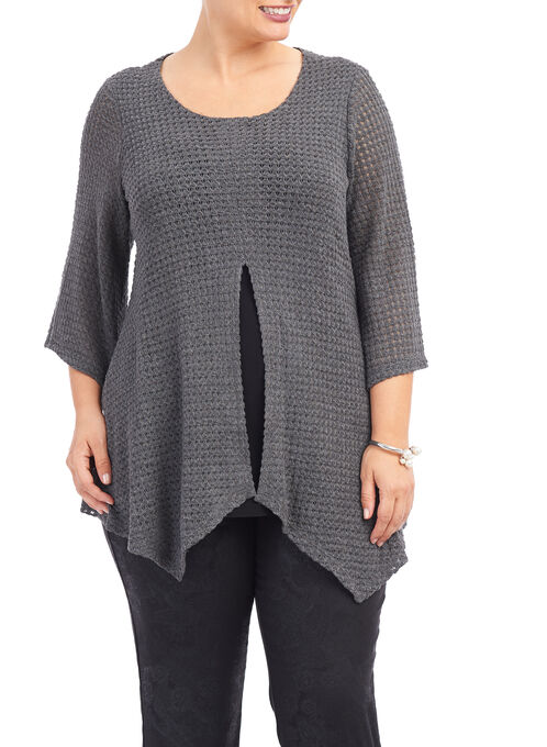 3/4 Sleeve Crochet Fooler Top, Grey, hi-res
