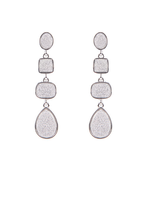 Glitter Dangle Earrings , Silver, hi-res