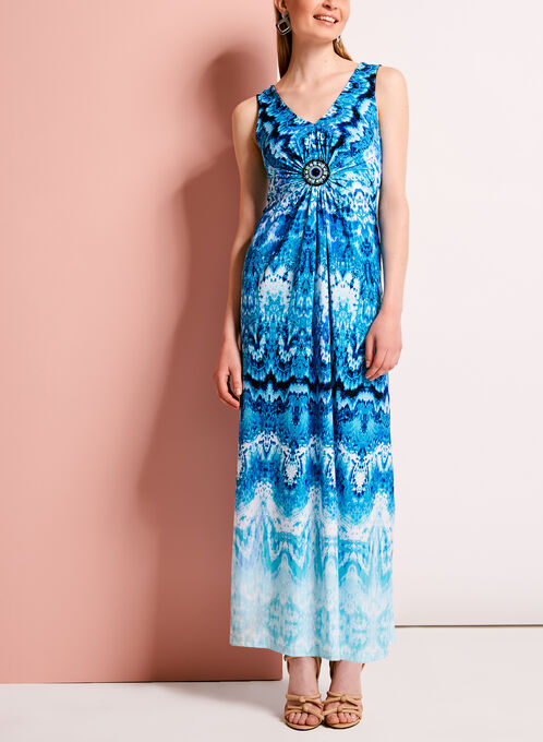 Watercolour Print Medallion Trim Maxi Dress, Blue, hi-res