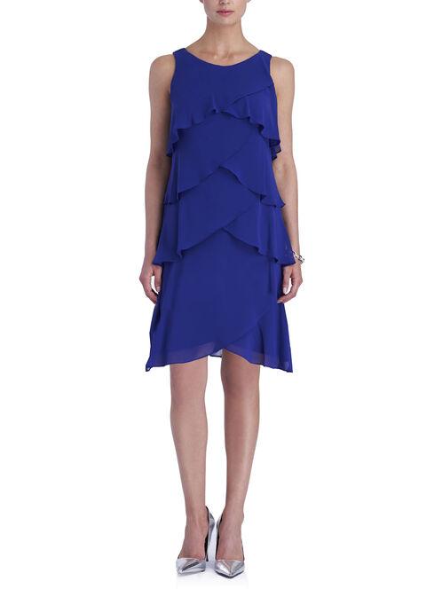 Chiffon Tiered Beaded Trim Dress, Blue, hi-res