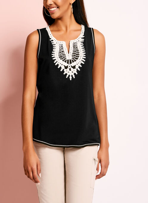 Crochet Trim Scoop Neck Camisole, Black, hi-res
