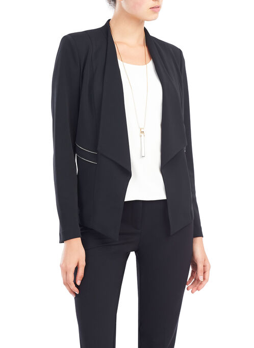 Zipper Trim Blazer, Black, hi-res