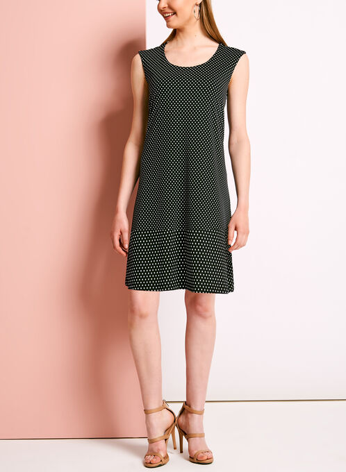 Scoop Neck Dot Print Trapeze Dress, Black, hi-res