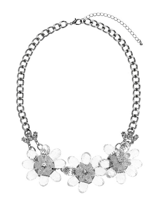 Beaded Floral Necklace, Silver, hi-res