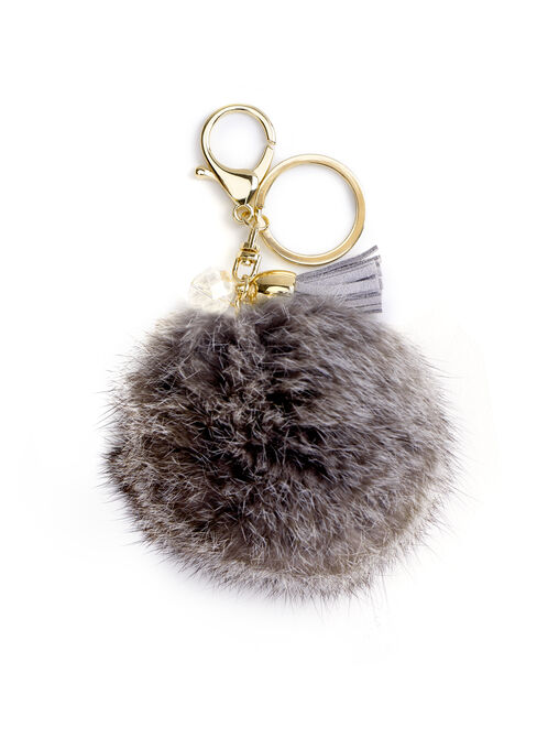 Rabbit Fur & Tassel Key Chain , Off White, hi-res