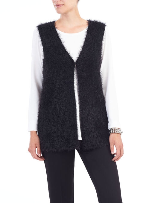 Sleeveless Feather Yarn Vest, Black, hi-res