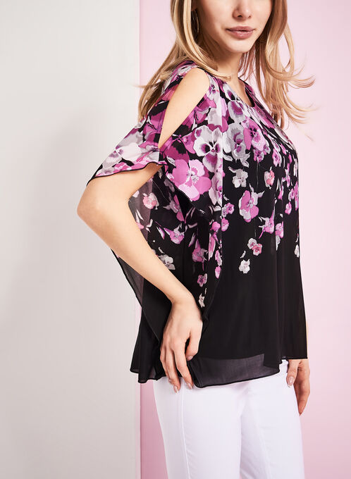 Floral Print Cold Shoulder Poncho Top, Black, hi-res