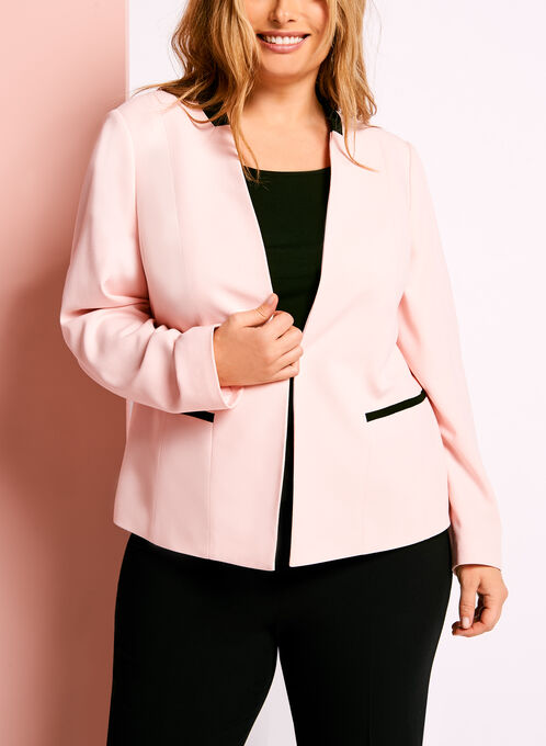 Colour Block Faux Collar Blazer, Pink, hi-res