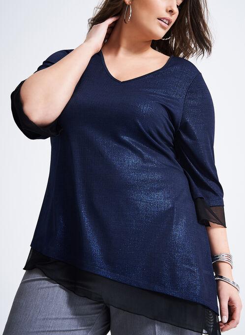 Asymmetrical Cross Knit Top, Black, hi-res