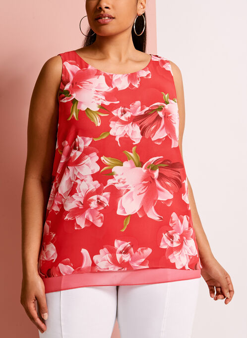 Floral Print Split Back Blouse, Red, hi-res