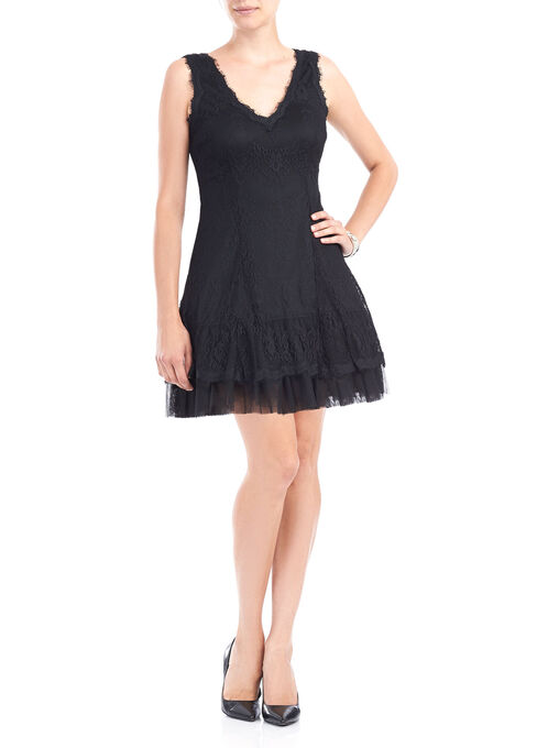 Sleeveless Lace Fit & Flare Dress, Black, hi-res