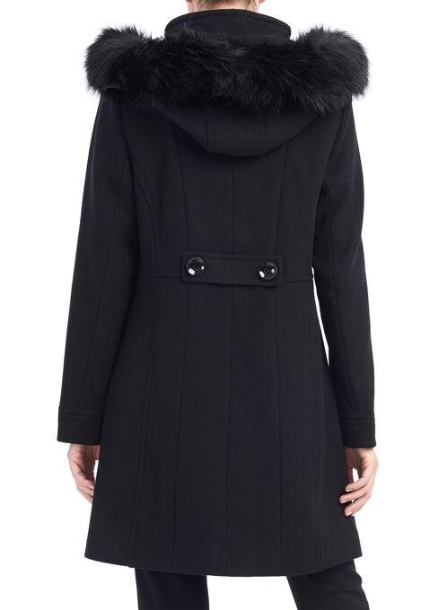 Novelti Wool Twill Coat, Black, hi-res