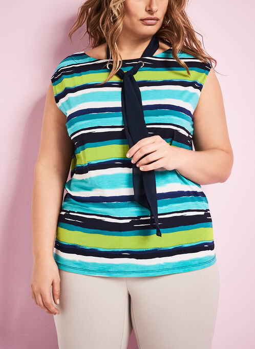 Tie Detail Stripe Print Top, Blue, hi-res