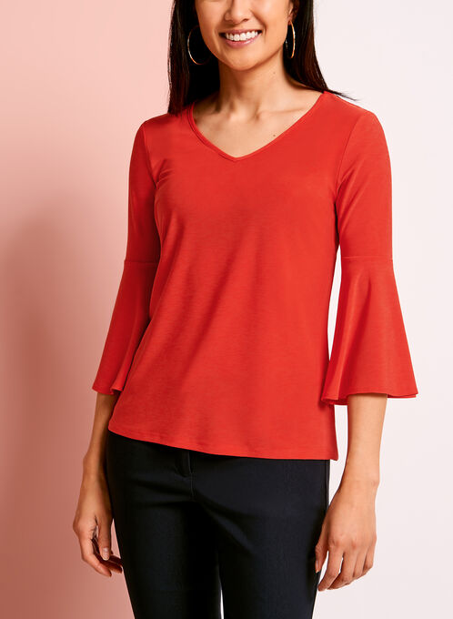 V-Neck Bell Sleeve Top, Red, hi-res