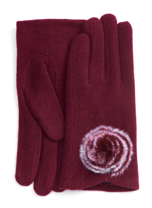 Wool & Fur Pompom Gloves, Red, hi-res