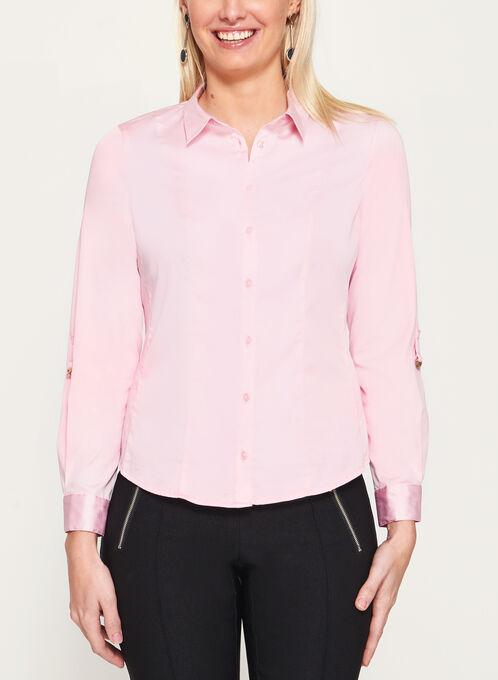 Tab Detail Button Down Blouse, Pink, hi-res